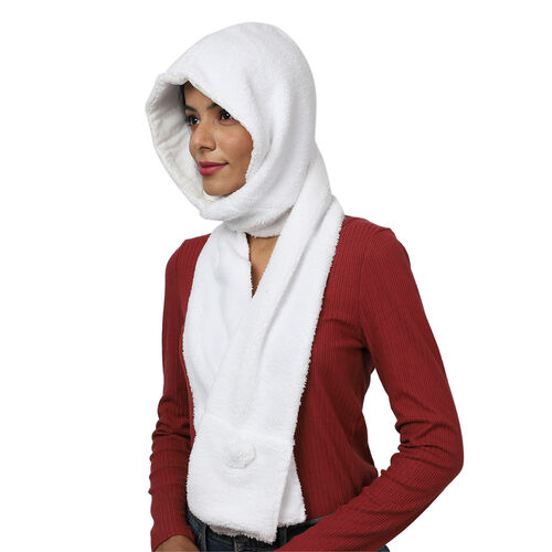 Winter Warm Soft Sherpa Hooded Scarf with Magnetic Button (Size Hood 27x30 Cm; Scarf 15x90 Cm) - White
