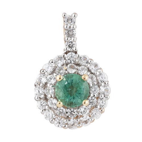9K Yellow Gold AA Kagem Zambian Emerald (Rnd), Natural Cambodian Zircon Pendant 1.300 Ct.