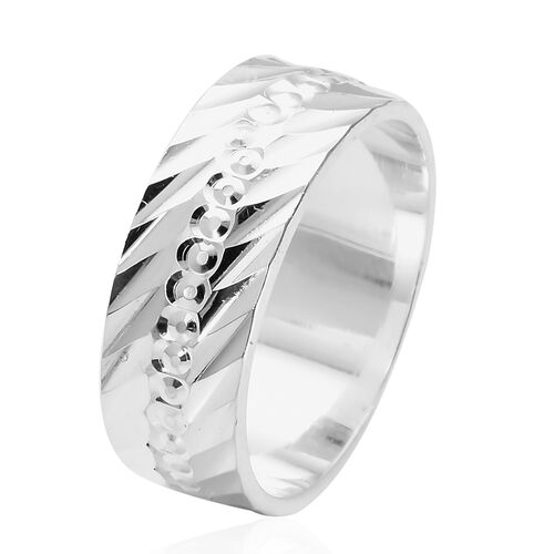 Desgner Inspired- High Polished Sterling Silver Band Ring, Silver wt 3.50 Gms.
