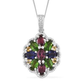 Rhodolite Garnet, Russian Diopside and Multi Gemstone Pendant with Chain in Platinum Overlay Sterling Silver 2.500 Ct.