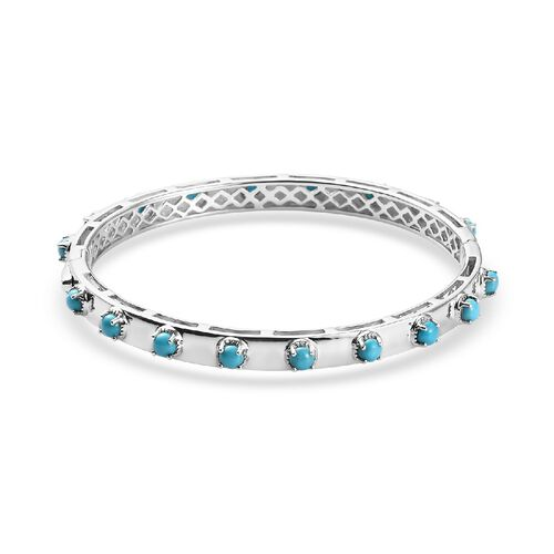 Arizona Sleeping Beauty Turquoise Bangle (Size 8) in Platinum Overlay Sterling Silver 3.25 Ct, Silve