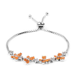 Designer Inspired- Limited Edition- Jalisco Fire Opal, Natural Cambodian White Zircon Butterfly Adjustable Bracelet (Size 6.5 - 7.5) in Rhodium Overlay Sterling Silver 2.00 Ct, Silver wt 5.5 Gms