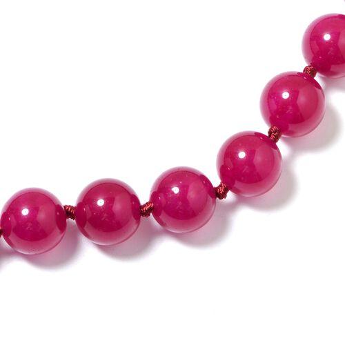 Designer Inspired- Rubellite Colour Quartzite (Rnd) Adjustable Beads Necklace (Size 18 to 24) 537.500 Ct.