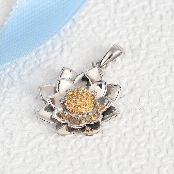 Platinum Overlay Sterling Silver Floral Pendant