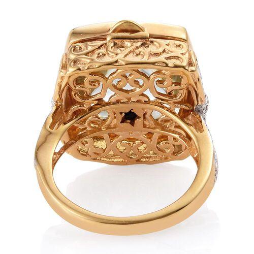GP Green Amethyst (Cush), Kanchanaburi Blue Sapphire Ring in 14K Gold Overlay Sterling Silver 13.500 Ct. Silver wt 8.42 Gms.
