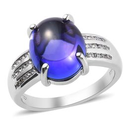 Heirloom Collection-RHAPSODY 950 Platinum AAAA Tanzanite and Diamond (VS/E-F) Ring 7.50 Ct, Platinum