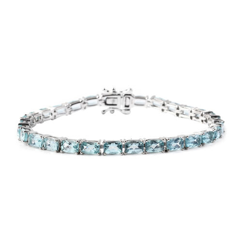 17 Ct AA Paraibe Apatite Tennis Bracelet in Rhodium Plated Sterling Silver 7.5 Inch