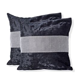 Set of 2 - Black Colour Crush Velvet Cushion Cover (Size 42x42 Cm)