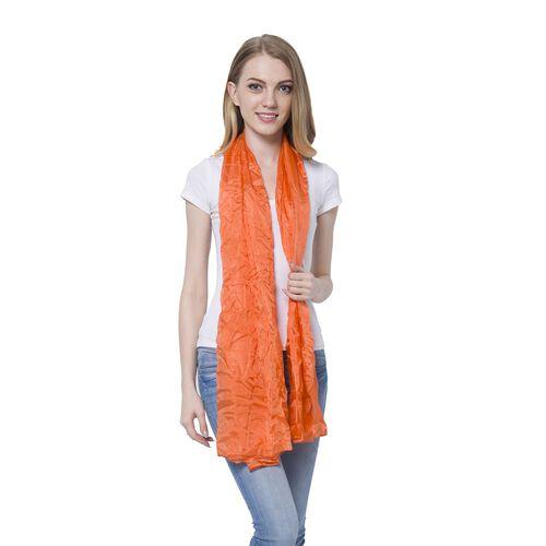 100% Mulberry Silk Pantone Orange Coral Colour Scarf (Size 180x110 Cm)