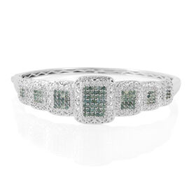 Natural Colour Change Alexandrite (Rnd), Natural Cambodian Zircon Bangle (Size 7.75) in Platinum Overlay Sterling Silver 3.750 Ct.