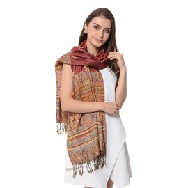 Wine and Multi Colour Paisley Pattern Tassel Scarf (Size 66x180+9 Cm)