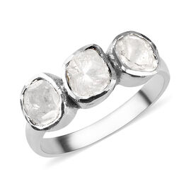 Artisan Crafted Polki Diamond Trilogy Ring in Platinum Overlay Sterling Silver 0.35 Ct.
