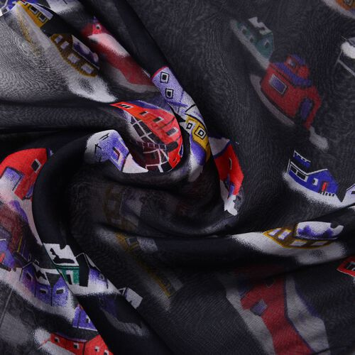 One Time Only - Close Out Deal 100% Mulberry Silk Red, Black and Multi Colour House Printed Scarf (Size 175X65 Cm)