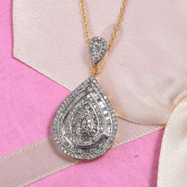 1 Carat Diamond Teardrop Cluster Pendant with Chain in Gold Plated Silver 6.30 Grams 20 Inch