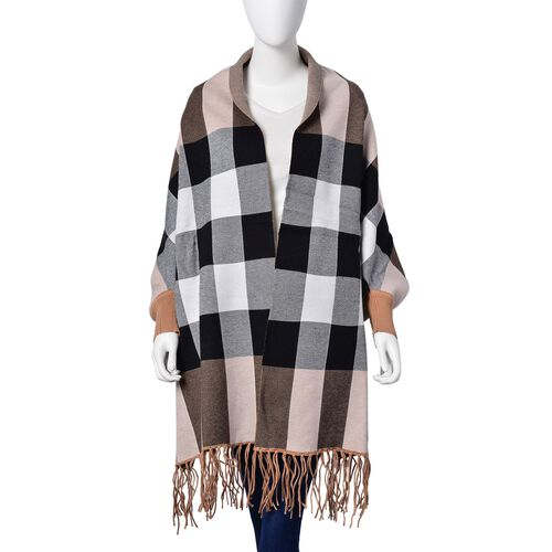 Designer Inspired - Chocolate, White and Multi Colour Checks Pattern Poncho with Tassels (Free Size)