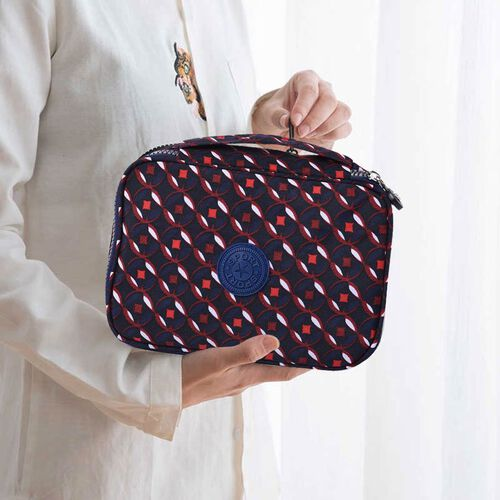 Water Resistant Portable Multi Colour Patterned Cosmetic Bag (Size 22x5x15x5cm) with Wrist Band Handle