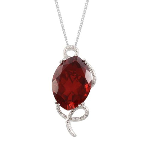 Ruby Quartz (Mrq 24.50 Ct), Diamond Pendant With Chain in Platinum Overlay Sterling Silver 24.510 Ct.