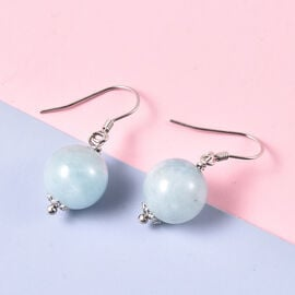 Aquamarine Bead Drop Hook Earrings in Rhodium Overlay Sterling Silver 24.00 Ct.