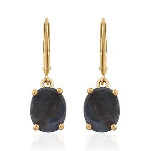 Natural Spectrolite (Ovl) Lever Back Earrings in 14K Gold Overlay Sterling Silver 3.500 Ct.