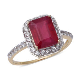 9K Yellow Gold AAA African Ruby (Oct 9x7mm), Natural Cambodian Zircon Ring 3.90 Ct.