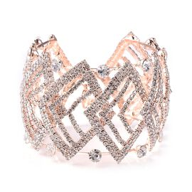 White Austrian Crystal (Rnd) Bangle (Size 7 with 3 inch Extender) in Rose Gold Tone