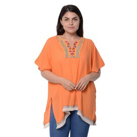 Orange Colour Poncho with Embroidery Collar and Small Tassel (One Size)