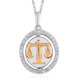 Natural Cambodian Zircon Zodiac-Libra Pendant with Chain (Size 20) in Yellow Gold and Platinum Overl