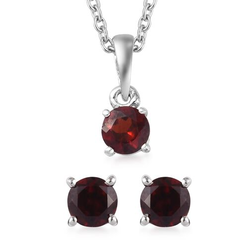 3 Piece Set -  Mozambique Garnet Pendant with Chain (Size 18) and Stud Earrings (with Push Back) in