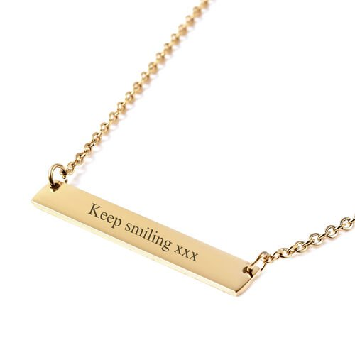 Personalise Engravable Bar Necklace, Size 17.5+2 Inch