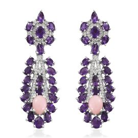 11.75 Ct Peruvian Pink Opal and Multi Gemstone Dangle Earring in Platinum Plated Silver 11.39 Grams