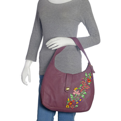 Premium Collection 100% Genuine Leather Burgundy Colour Floral Embroidered RFID Blocker Bag (Size 35x25x8 Cm)
