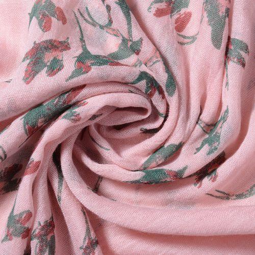 Pink Colour Bird Pattern Scarf (Size 178x100 Cm)