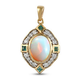 Ethiopian Welo Opal, Emerald and Natural Cambodian Zircon Pendant in 14K Gold Overlay Sterling Silve