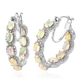 Ethiopian Welo Opal (Ovl) Hoop Earrings (with Clasp Lock) in Platinum Overlay Sterling Silver 2.500 Ct. Silver wt 9.72 Gms.