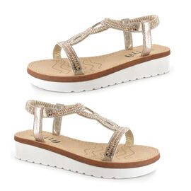 OLLY Belle Toe Post Low Wedge Sandal in Golden Colour