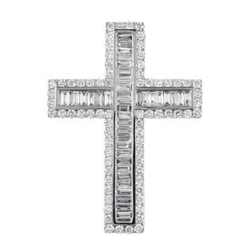ILIANA 18K White Gold IGI CERTIFIED Diamond (Rnd and Bgt) (SI/G-H) Cross Pendant 2.020 Ct.