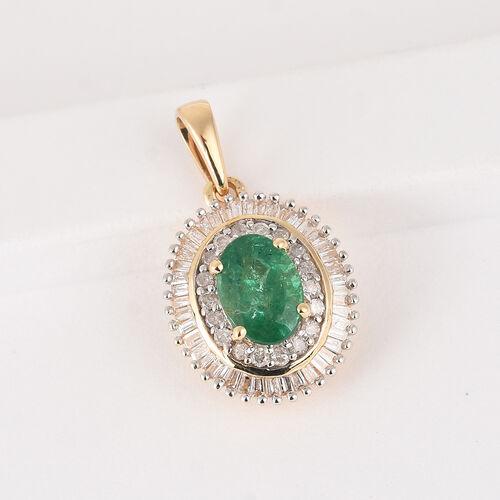9K Yellow Gold  Premium Emerald and White Diamond Halo Pendant 1.00 Ct.