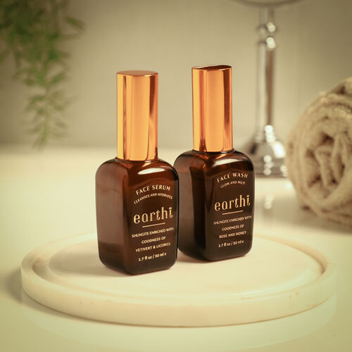 Shungite Enriched Earthi Turmeric Face Serum with Complementary Rose Face Wash (50ml+50ml)