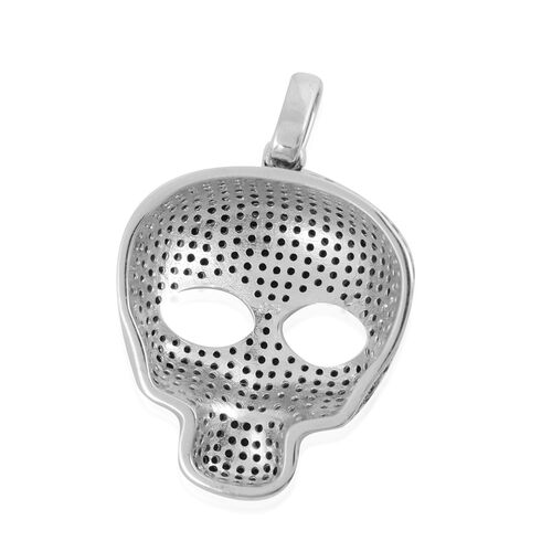 Natural Boi Ploi Black Spinel (Rnd) Skull Pendant in Rhodium and Black  Overlay Sterling Silver 8.80 Ct, Silver wt 6.70 Gms