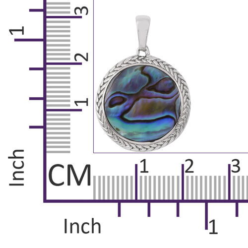 Royal Bali Collection - Abalone Shell (Rnd) Pendant in Sterling Silver