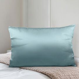 SERENITY NIGHT 100% Mulberry Silk Pillowcase Infused with Hyaluronic & Argan Oil in Light Teal Colour (Size 75x50 Cm)