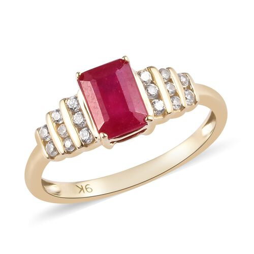 9K Yellow Gold African Ruby and Natural Cambodian Zircon Ring 1.75 Ct.