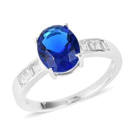 Simulated Blue Sapphire (Ovl 10x8 mm), Simulated Diamond Ring in Rhodium Overlay Sterling Silver