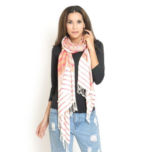 Multi Colour Butterfly Pattern White, Red and Orange Colour Jacquard Scarf with Fringes (Size 200x70