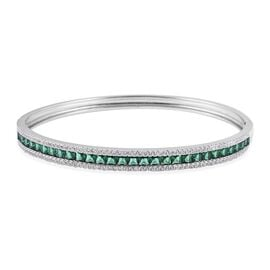 Simulated Emerald and Simulated Diamond Bangle Size 7.5 in Silver Tone