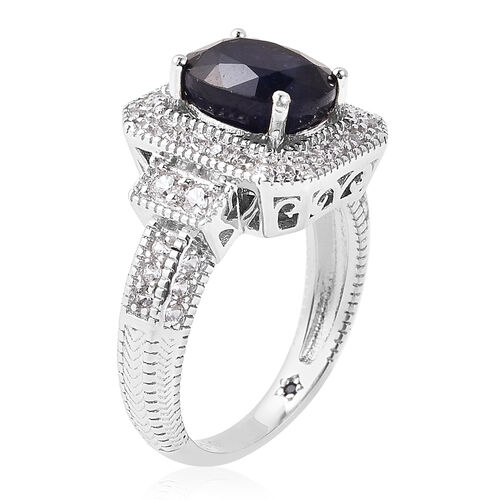 GP - Masoala Sapphire (9x7mm), Natural Cambodian Zircon Ring in Rhodium Overlay Sterling Silver 3.37 Ct.