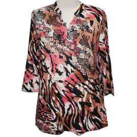 Aura Boutique Supersoft Neck Detail Printed Top in Brown