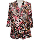 Aura Boutique Supersoft Neck Detail Printed Top in Brown (Size M, 14-16)