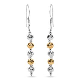 Italian Made Platinum and Yellow Gold Overlay Diamond Cut  Sterling Silver  Drop Earrings