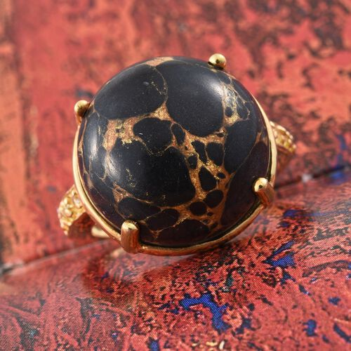 Arizona Mojave Black Turquoise (Rnd), Yellow Sapphire Ring in 14K Gold Overlay Sterling Silver 16.250 Ct.